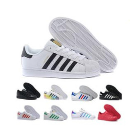 Canada 2018 Casual Originals Super star Blanc Hologramme Iridescent Superstars Des Années 80 Fierté Sneakers Super Star Femmes Hommes Sport Casual Chaussures 36-45 Offre