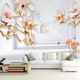dipinto di magnolia Sconti Carta da parati murale personalizzata Magnolia Fiore 3D Spazio stereoscopico Pittura murale Soggiorno Divano TV Sfondo Carte da parati Decorazioni per la casa