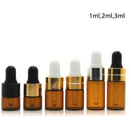pequenas garrafas de vidro para cosméticos Desconto Amber conta-gotas frasco de vidro mini visor de óleo essencial frasco pequeno perfume de viagem recipiente de amostra marrom 1ml 2ml 3ml ferramentas de cosméticos RRA1108
