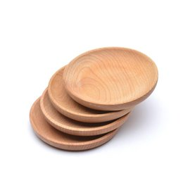 wood plates Promo Codes - Dessert Biscuits Plate Round Wooden Plate Dish Dish Fruits Platter Dish Tea Server Tray Wood Cup Holder Bowl Pad Tableware Mat BC BH1578