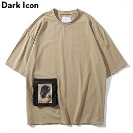 2019 cores escuras camisetas Ícone escuro Bolso com Zíper Oversized T-shirt dos homens de Manga Curta Em Torno Do Pescoço Rua Tshirts Homens Camisetas de Algodão 3 Cores cores escuras camisetas barato
