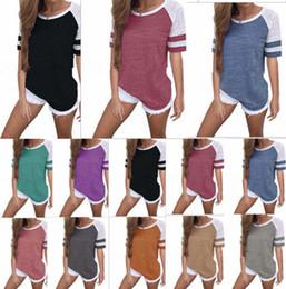 Tallas de camisa cm online-Color de contraste casual de las mujeres Camiseta de manga corta de verano suelta rayas camisetas Cuello redondo Niñas Tops camiseta Tallas grandes S-5xl venta B3123