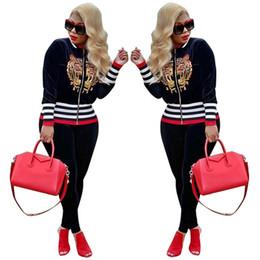 2019 tuta da donna delle donne nere Plus Size Casual 2 pezzi Set donna con paillettes Tiger Zip e pantaloni slim fit neri autunno moda Streetwear Tute tuta da donna delle donne nere economici