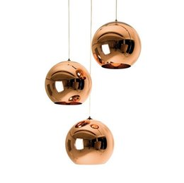 copper kitchen lighting Promo Codes - Modern glass Pendant Light home restaurant Fashion Space Plated silver gold copper Glass Ball Pendant Lamp