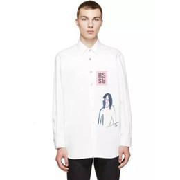 Jaquetas jeans para mulher on-line-RAF SIMMONS jaqueta jeans Retrato Graffiti camisa de manga comprida pelagem branca Jackets Moda homens mulheres casal Rua Casual Hip Hop HFHLJK046
