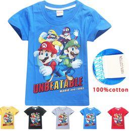 2019 цвет девочек игры 5 Цвет мальчики девочки Super Mario Bros футболки 2019 Новый Детская игра мультфильм хлопок с коротким рукавом футболки Детские детская одежда для 4~10years B11 дешево цвет девочек игры