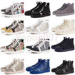 Solas vermelhas de louboutina on-line-high quality designer luxury baskets CL christian louboutin red bottoms men women mens leather spiked shoes hommes heels bottom sneakers platform