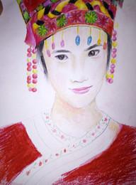 2019 arte da parede da lona de audrey hepburn 2019 Tamanho 54 * 38 CM original trabalho estilo Chinês desenho pintura creiom desenho para a China menina estilo minoritário