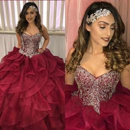 Argentina Vestido de fiesta de quinceañera con cuentas de cristal con cuentas de 2019 cariño tul dulce 16 vestido largo vestido de desfile de chicas adolescentes supplier teens ball gowns Suministro