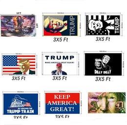 2019 pietre di incandescenza libere 10 colori Donald Trump Tank Flag per President 2020 Bumper Make America Great Again Cortile USA Flag Elezioni Banner giardino decor A5702