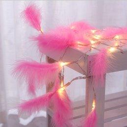 2019 мини-светодиодные фонари с подсветкой 20 светодиодных струн фея розовое перо с батарейным питанием 2м светодиодные украшения на рождество гирлянда новый год свадьба герлянда