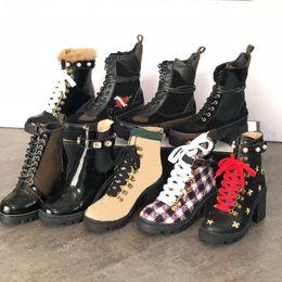 chaussures de ruban de dames Promotion Créateur Cheville Bottes Femmes Martin Bottes En Cuir Véritable Abeille Lauréate Plateforme Desert Boot Lady Lacets En Ruban Ceinture Boucle Chaussures Talon 5-10 cm