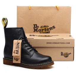 Dr martin leder stiefel frauen online-New Lovers Boots Top-Qualität Split-echtes Leder-Schuhe Damen Stiefel Marke Schnee lädt Winter-Pelz-warme Bequeme Damenschuhe Dr. Martins