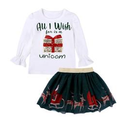 2020 falda larga para niñas Manga larga de la Navidad chica camiseta y infantil del cuello de O-blanca de Navidad se visten de gasa determinado del bebé Tops y falda de gasa de los cabritos ropa del niño de dos PC rebajas falda larga para niñas