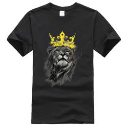 Maglia di lione online-Magliette estive Uomo 2019 Cotone manica corta King Of Lion Modello Hip Hop Fashion Streetwear T-shirt da uomo Top Tees