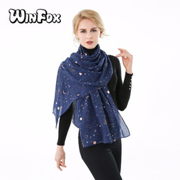 Bufanda azul marino online-Venta al por mayor 2019 Nueva Moda Navy Star Moon Foil Gold Glitter Echarpe Foulard Bufanda Hijab Shawl Mujeres Señoras bufandas de primavera