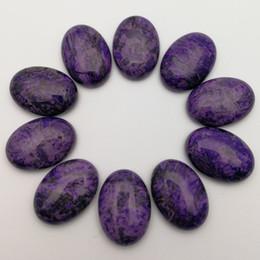 Accessoires naturels bon marché en Ligne-Pas cher Perles De Mode 12pcs violet agates 25x18mm pierre naturelle perles ovale cabochon pour bijoux bague accessoires sans trou livraison gratuite