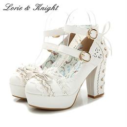 Stile giapponese dolce merletto dell arco di colore della caramella della principessa Shoes fibbia Tacchi alti Sweet Lolita Scarpe rosa bianco