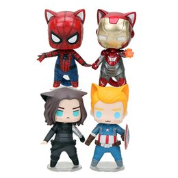 Marvel Avengers Capitán América Soldado de invierno Iron man Spiderman Cat Q versión Figura de acción Modelo Juguetes 8 cm desde fabricantes