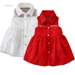 falda de lentejuelas niño Rebajas Baby Girl Vestidos de princesa Toddler Girl Infant Baby Lapel Vestido de un solo pecho Ropa para niños Ropa sin mangas Lentejuelas Sólido Falda de una línea
