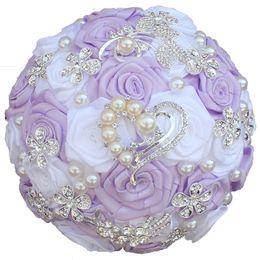 Bouquet da sposa gialli Nastro in raso Simulazione Fiore Perle Strass Crystal Bridal Sweet 15 Quinceanera Bouquets W125 da