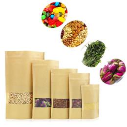 2019 конфеты Влагостойкие мешки Крафт-бумага Сменные пакеты для пищевых продуктов Zip Lock встают с прозрачным окном для выпечки закусок из конфет скидка конфеты