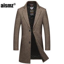 2019 abrigo de trinchera para hombre xs Aismz Nueva invierno larga de los hombres solo pecho abrigo de lana para hombre grueso de negocios casual chaquetas caliente Trench Coat masculino casaco abrigo de trinchera para hombre xs baratos