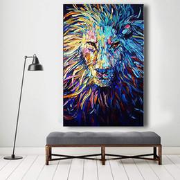 arte da lona do leão Desconto Pintados À mão-Abstrata Azul Marinho Pintura A Óleo Leão Arte Abstrata Animal Óleo sobre Tela Faca de Paleta Pesado Texturizado 24x36 polegada