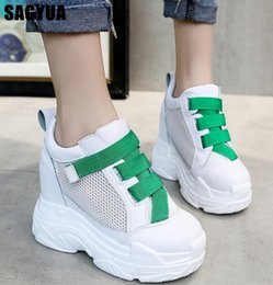 повседневная обувь на высоком каблуке Скидка  quality women shoes Wedge Platform Shoes Spring summer Mesh Breathable Casual Fashion ladies White high heels A883