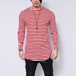 2019 camiseta rayas negro para hombre De gran tamaño 5xl camiseta hombre negro o cuello manga larga camiseta de los hombres impresión de rayas streetwear camisa casual para hombre ropa camiseta camiseta rayas negro para hombre baratos