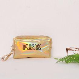 saco de cosméticos de ouro pequeno Desconto Carta de moda Rosa Pu Saco Cosmético Make Up Nova Cor De Ouro Mini Saco De Armazenamento À Prova D 'Água Portablegirls Simples Pequeno Saco