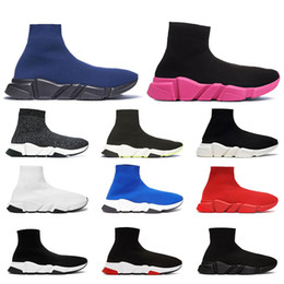 Zapatos casuales de lona online-Balenciaga 2019 hombres mujeres calcetines de diseñador zapatos speed trainer negro blanco brillo rosa azul moda lujo hombres entrenadores casual lona zapatillas plataforma