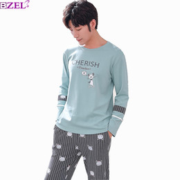 Мужской корейский пуловер онлайн-2019 Winter New Korean Style Men's Pajamas Set Long Sleeve Cotton pajamas pullover Round Collar Cotton Comfort Household Clothes