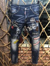 2019 männer holey jeans Jeans Herren Distressed Zerrissene Biker Jeans Slim Fit Motorrad Biker Denim Modedesigner Hose Hip Hop Mens Jeans002