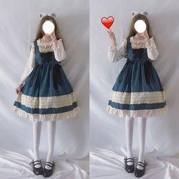 Poupée japonaise en Ligne-Robe Lolita douce mignonne japonais Kawaii filles Princesse Pucelle Vintage Gothic Baby Doll dentelle bleu marine femmes Jupe Bow Ruffles
