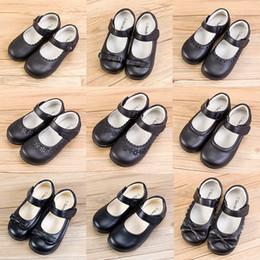 Caoutchouc pour l'école en Ligne-Enfants Filles En Cuir École Chaussures 7+ Boucle De Sangle Mat Cravate Noeud Filles En Caoutchouc Chaussures Simples Danse Peform Chaussures Solides Parti Casual Chaussures 5-14T