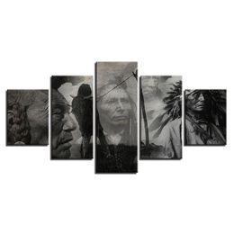 Persone di tela di olio online-5 Pz Combinazioni Popoli indigeni HD e Lupo Tramonto Prati incorniciati Tela Pittura Decorazione murale Poster Stampato Pittura ad olio