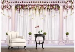 Cortinas murais on-line-WDBH 3d papel de parede personalizado foto Romântico cortinas de casamento coluna romana fundo quarto home decor 3d murais de parede papel de parede para paredes 3 d