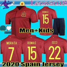 Homens crianças 2,020 Espanha camisa de futebol A.INIESTA casa camiseta de fútbol Sergio Ramos isco Euro copa de futebol camisa uniforme de