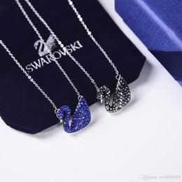 colgante de cisne negro Rebajas Diseñador de joyas collar para mujer colgante de lujo marca famosa austriaca Azul y Negro cisne de plata Collar de moda Bijoux de dames