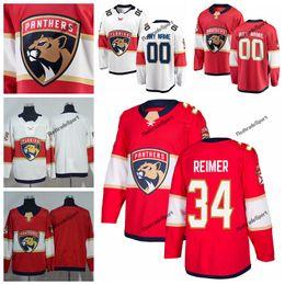 2019 james reimer jersey 2019 Florida Panthers James Reimer Hóquei Jerseys Mens Nome Personalizado Casa Red # 34 James Reimer Costurado Camisas de Hóquei S-XXXL james reimer jersey barato