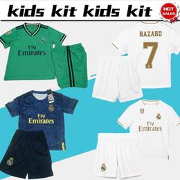 2019 Kids Kit Camisetas de fútbol del Real Madrid # 7 PELIGRO # 9 BENZEMA 19/20 Camisetas de Boy Soccer Conjunto infantil personalizado, uniformes de fútbol + pantalones desde fabricantes