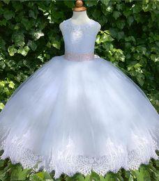 Vestido rosa navidad blanco online-Vestido de niña de flores de marfil blanco Pink Sash Boda Ocasión formal Fiesta de las niñas Tulle Holiday Christmas Baby Toddler Dress Custom