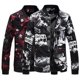 Casacos de impressão floral mens on-line-Floral Moda Brasão Bomber Jacket Mens Impressão Flor Slim Fit Male Jackets Windbreaker Baseball Jacket roupas de homem camisolas