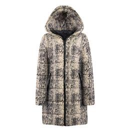 die frauen sind aufgedruckt Rabatt Mantel Womens Winter Long Down Baumwolle Snake Print Parka Kapuzenmantel Jacke Outwear Abrigos De Mujer # PL1564