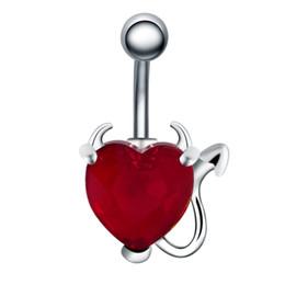 ZIIME 1PC Red Cubic Zirconia Crystal Heart Ciondola Gravidanza ombelico Anelli donna Sex Surgical Steel Piercing all'ombelico Ombligo da