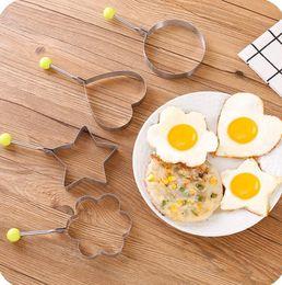 2019 plastik-eierschneider Nonstick Silikon Pfannkuchenform Maker Spiegelei Ringform Former Herz Runde Spiegeln Pfannkuchen Silikonform Omelettform H111