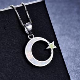 Sterling silber stern mond halsketten online-Süße Mond Sterne Anhänger Halskette Blue Fire Opal Halskette 925 Sterling Silber Hochzeitsschmuck