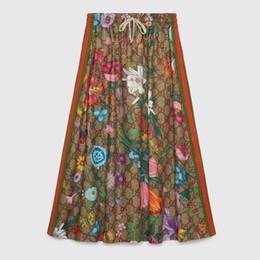 motifs de jupe évasée Promotion 2020 nouvelle fleur d'automne jupe dame de haute qualité skirt23Z9