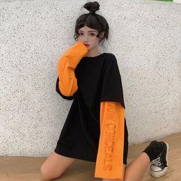 оранжевая рубашка с длинным рукавом для женщин Скидка Женская Tee Лоскутного Контраст с длинным рукавом вышивка Графической Сыпучей Футболка Футболка Пуловер Женщина Top Casual Tshirt Orange